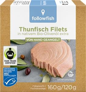 File de Ton Dungat in Ulei de Masline Bio 160gr Followfish