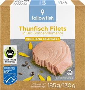 File de Ton in Ulei de Floarea Soarelui Bio 185gr Followfish