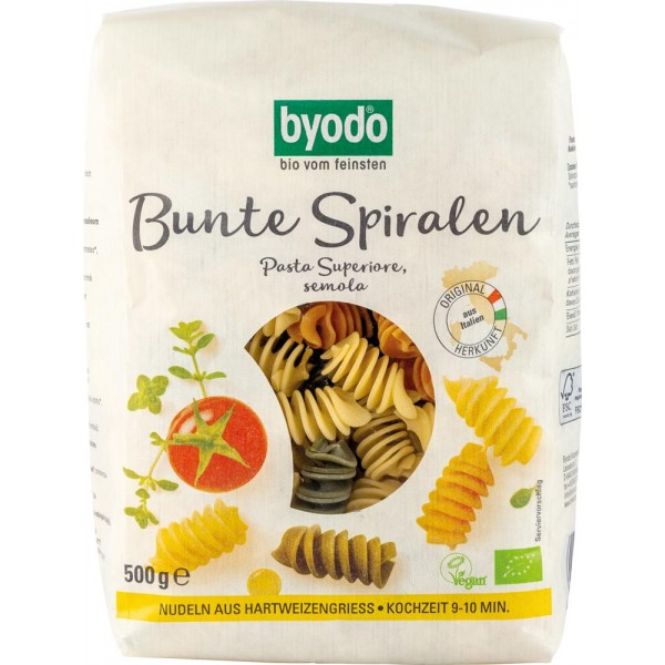 Paste Spirale Colorate Bio 500gr Byodo